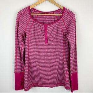Lululemon Long Sleeve Stripe Henley Size 10